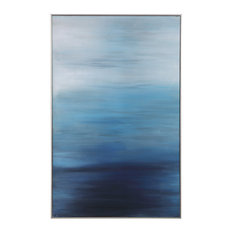 Modern Coastal Contemporary Ocean Blue Painting | Wall Art Shades Peaceful Sea