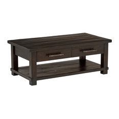 Modern Coffee Table Solid Reclaimed Pine Wood With 2 Storage Drawers