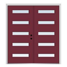 "64""x80"" 5-Lite Clear LH-Inswing Painted Fiberglass Double Door, 4-9/16"" Frame"