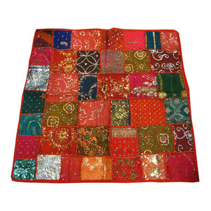 Mogul Interior - Vintage Table Cloths Red Sari Wall Tapestry - Tapestries