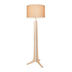 Forma - LED Floor Lamp - Burlap Shade, Wood: Maple, Brushed Aluminum