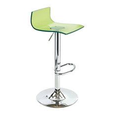 Wye Transparent Acrylic Adjustable Breakfast Bar Stool, Chrome, Green