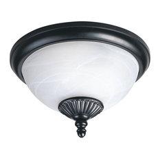 Two Light Outdoor Flush Mount  Black Finish  - Swirled Marbleized Glass