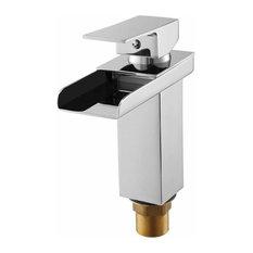 Modern Bathroom Basin Sink Mixer Tap With 1/4 Turn Ceramic Disc, Chrome Finish