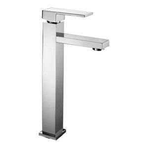 Slim Chrome Bathroom Sink Mixer Tap, High