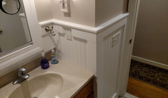Bathroom: remove old ceramic tile, install beadboard wainscot over demoed area.