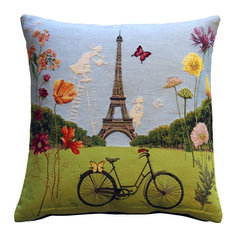 Pillow Decor - Eiffel Tower in Spring Tapestry Throw Pillow