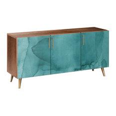 Pacific Waters Flare Sideboard Walnut/Brass