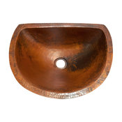 Oval Bathroom Copper Sink With Flat Back And Flat Rim