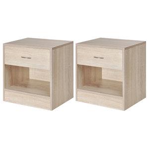 VidaXL Bedside Cabinets With Drawer,  Set of 2, Oak