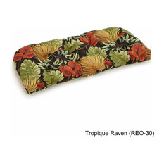 "42""x19"" U-Shaped Solid Tufted Settee/Bench Cushion, Tropique Raven"