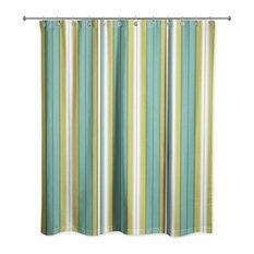 Ddcg Green Stripes Shower Curtain Curtains