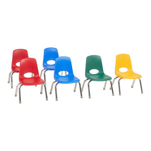 "Factory Direct Partners 10"" School Stack Chair Swivel Glide, 6-Piece, Assorted"