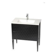 "Blus Diamond Bathroom Vanity, Black, 40"", Oxirion White Matte Resin Sink"
