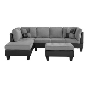 3-Piece Modern Microfiber Faux Leather Sectional Sofa With ...