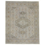 Capel Rugs - Cannae Rectangle Hand Knotted Rug, Light Tan Pale Blue, 8'x10' - Hand knotted in India using 100% Wool yarns.? Soft, muted colors with casual and transitional patterns makes it very easy to utilize in your home.