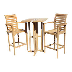 """Teak 27"""" Square Drop-Leaf Bar Table With 2 St. Moritz Bar Chairs"""