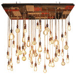 Reclaimed pine wood large mosaic chandy - Mosaic wood base made from reclaimed pine wood from New York, stained multi-color palette of white, grey, brown, and red with 60 pendants made from ivory cloth cord, copper hardware and copper trim on base.
