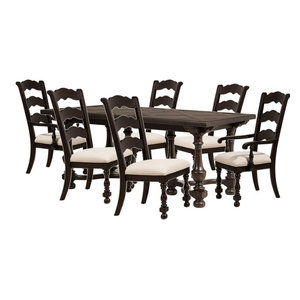 Pine Island 7 Pc Dining Set With Ladder Back Chairs