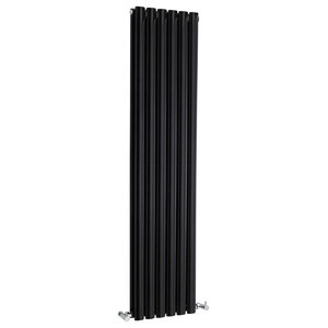 Revive Tall Double Panel Radiator, High Gloss Black, Small
