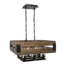 ... Wood Hanging Ceiling Island Pendant Fixture - Kitchen Island Lighting