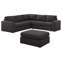 Decker Sectional Sofa with Ottoman in Dark Gray Linen