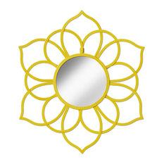 Brienne Metal Flower Round Wall Accent Mirror, Yellow
