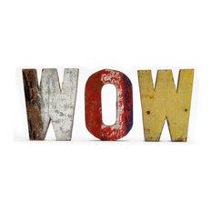 - Letras de madera reciclada  WOW - Letras para la pared