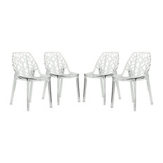 Leisuremod Cornelia Hollow Back Lucite Dining Chair, Set of 4, Clear