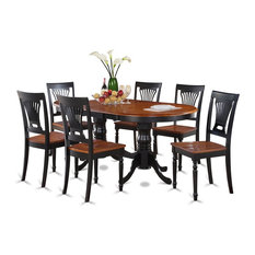 7-Piece Dining Room Set, Table and 6 Kitchen Chairs Black/Cherry Without Cushion