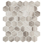 "Emser Tile - Echo Gray 12""x14"" Glass Mosaic Tile, Set of 14 - Echo portrays a dynamic union of shape,pattern,and sustainability. Hexagon and herringbone mosaic tilesarecrafted entirely of recycled white, gray, and brown glass.Finished with high-definition inkjets of wood grain and Calacattamarble patterns, the glass mosaic series is ideal for kitchen and bath surfaces."