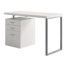 Monarch 3 Drawer Writing Desk in Brown and Black, White/ Silver