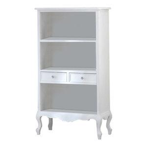 White Bookcase with Drawers - Elise White Range