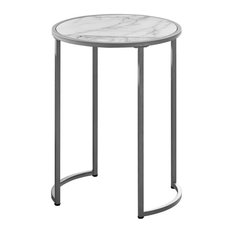 Monarch Faux Marble End Table In White And Silver