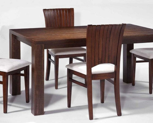 Modern Dining Room with Rectangular Solid Wood Table Set with Chairs - Dining  Tables