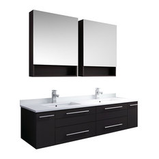 60-inch Espresso Wall Hung Double Undermount Sink Vanity With Medicine Cabinets