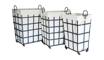 Tall Industrial Metal Baskets, Set of 3, Medium