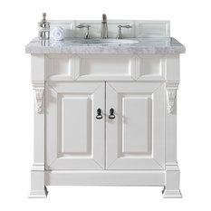 "Brookfield 36"" Cottage White Single Vanity 2CM Carrara White Marble Top"