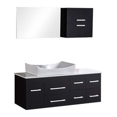 "Springfield 53"" Single Sink, Wall Mount Vanity Set, Espresso"
