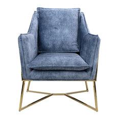 London Denim-Effect Lounge Chair
