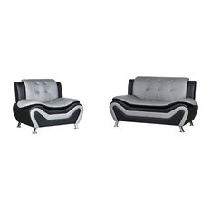 Camille Black and Grey Living Room Collection, Chair and Loveseat