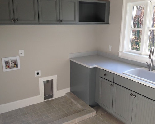 Example Of A Mid Sized Transitional L Shaped Limestone Floor Dedicated  Laundry Room Design