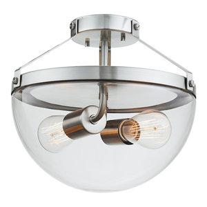 Belsize 2-Light Brushed Steel Semi-Flush Mount Ceiling Light, Clear Glass Shade
