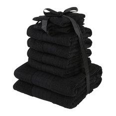 Luxuriously Soft 10-Piece Black Towels Bale Bath Gift Set, 100% Cotton
