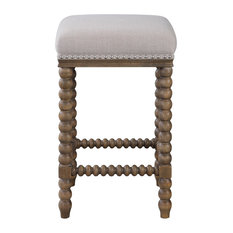 Luxe Retro Style Spindle Turned Leg Counter Stool | Plush Ivory Bar Square Wood