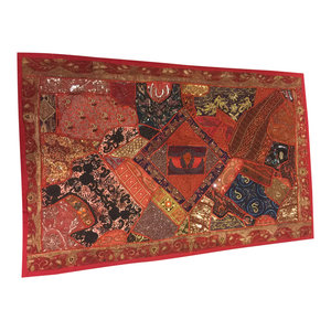 Mogulinterior - Consigned, Wall Tapestry Red Sari Patchwork Embroidered Wall Hanging Wall Decor - Tapestries