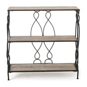 Mia Modern Industrial 2 Shelf Firwood Bookcase