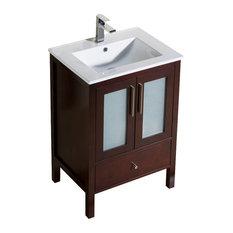 Vanity Fulton 24 With Porcelain Top Sink, Dark Walnut