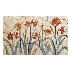 Flower Mosaic Mural Tile Art