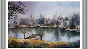 """Картина с природой """"Ноябрьское озеро"""""""